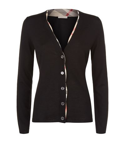 Burberry Checked-Trim Wool Cardigan In Black