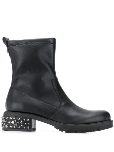 Liu •jo Studded Heel Ankle Boots In Black