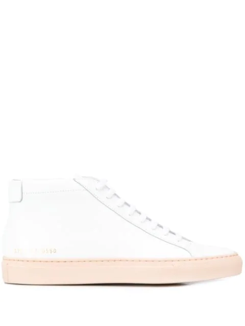 Common Projects Achilles Mid Sneaker In Nude In 0560 White