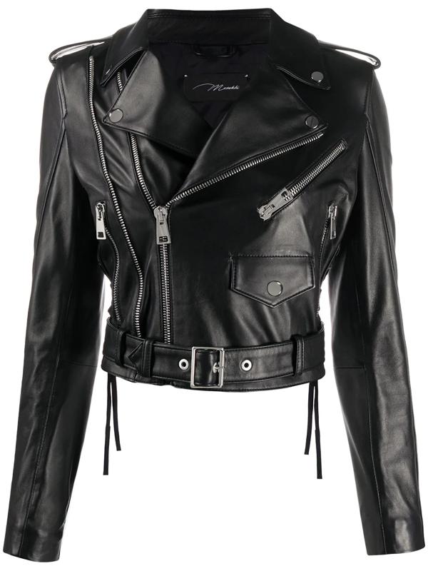 Manokhi Leather Biker Jacket In Black