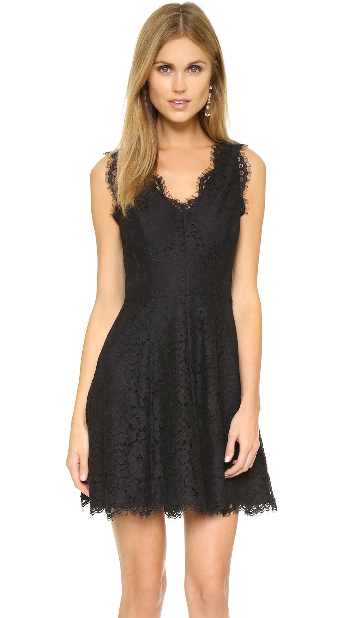 Joie Nikolina Sleeveless Lace A-Line Dress In Caviar