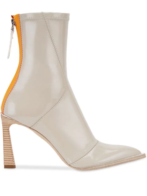Fendi 85Mm Faux Patent Leather Ankle Boots In F0Xw5-Stone