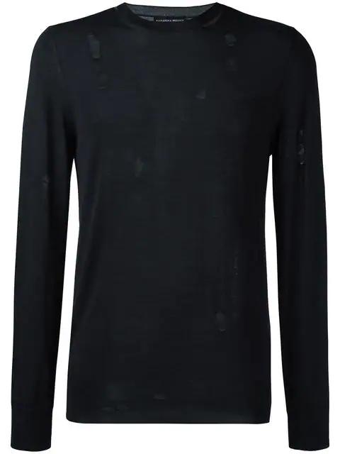Alexander Mcqueen Distressed Wool-Blend Fine-Knit Sweater In Black