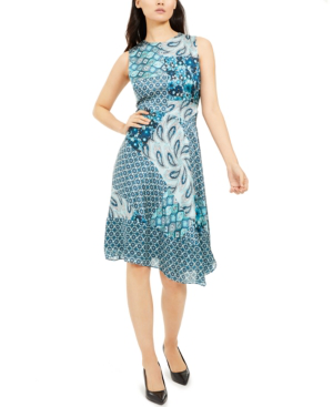 Elie Tahari Azure Mixed-print Sleeveless Silk Dress In Ice Cap Multi Ppw