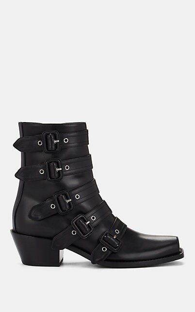 Burberry Buckled Leather Peep-Toe Ankle Boots In Black