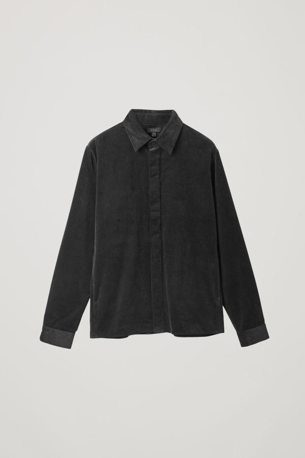 Cos Cotton Corduroy Shirt In Black