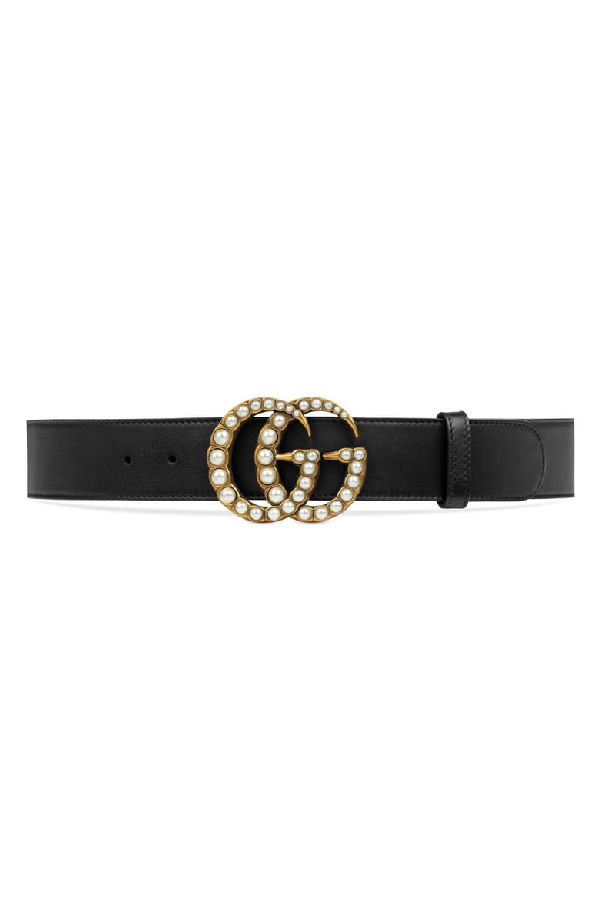 Gucci Smooth Leather Belt W/ Pearlescent Beads, Black In Dlx1T 9094 Nero/Cream