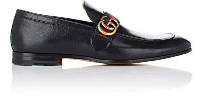 Gucci Herren Leder Mokassins Slipper  Quentin In Black