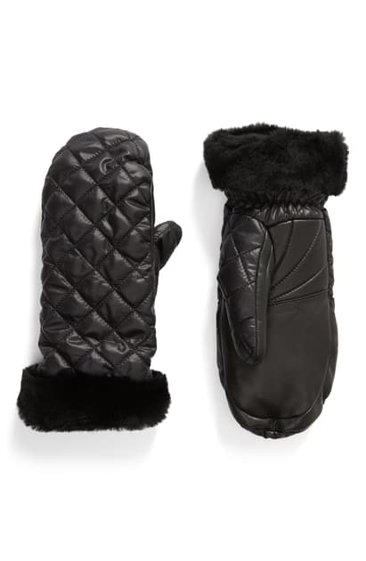 Ugg Women's Quilted Performance Shearling Cuff Mittens In Black