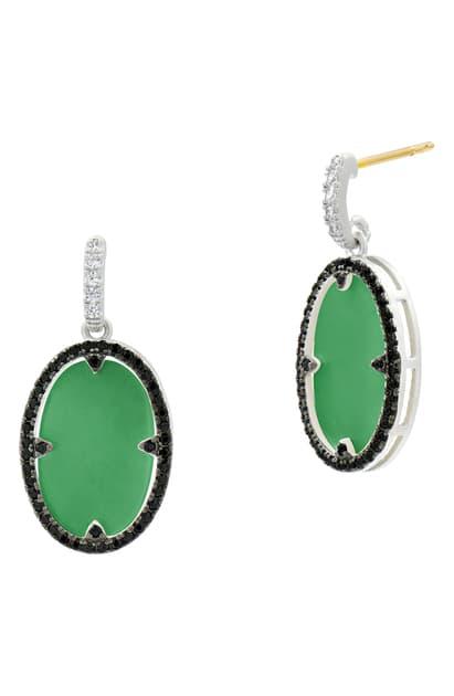 Freida Rothman Industrial Finish Oval Drop Earrings In Rhodium-plated Sterling Silver In Silver/ Green