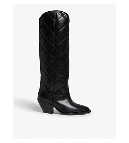 Sandro Roy Leather Knee High Boots In Black
