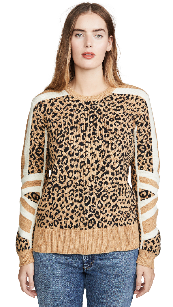 Current Elliott Current/Elliott The Duvall Leopard-Pattern Sweater In Camel And Black