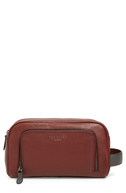 Ted Baker Miel Leather Dopp Kit In Red