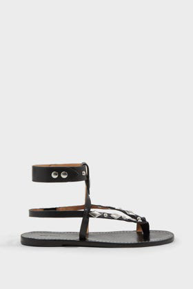 Isabel Marant Enga Studded Leather Sandals In Black
