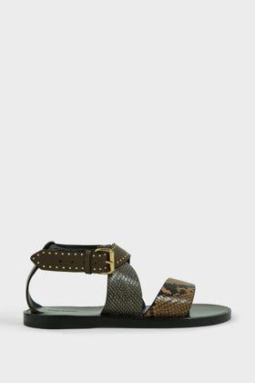 Isabel Marant Juzee Animal-Print Leather Sandals