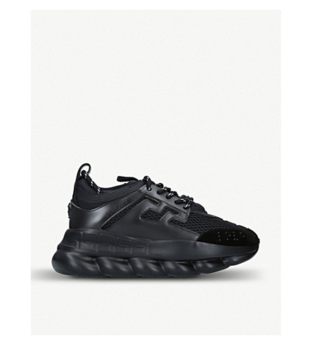 Versace Chain Reaction Leather And Mesh Trainers In Black