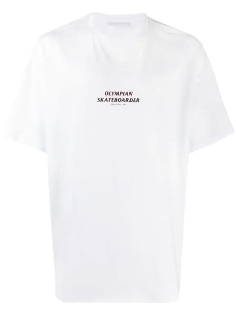 Neil Barrett Olympian Skateboarder Printed T-shirt In 2351  White