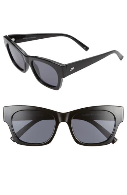 Le Specs Rocky 53mm Polarized Cat Eye Sunglasses In Black/ Smoke Mono Polarized