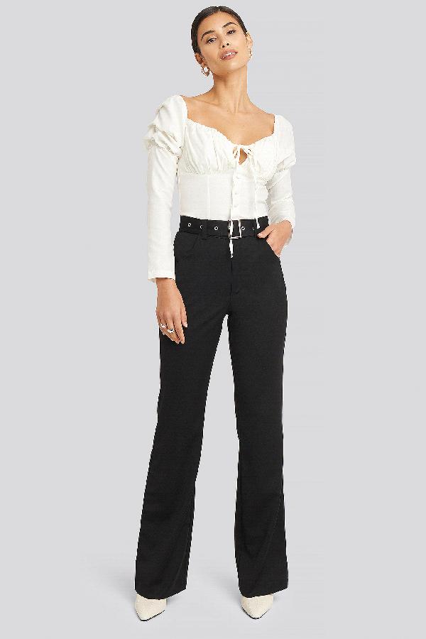 Afj X Na-kd Belted Bootcut Pants - Black