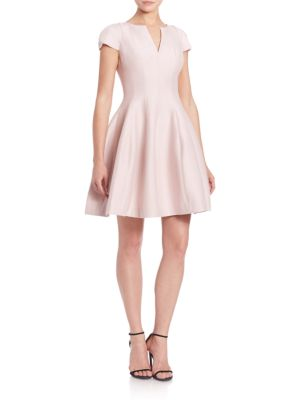 Halston Heritage Cap-Sleeve Sateen Dress In Barely Pink