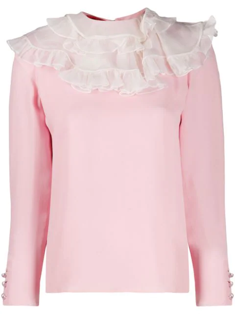 Valentino 2000 Ruffle-neck Blouse In Pink