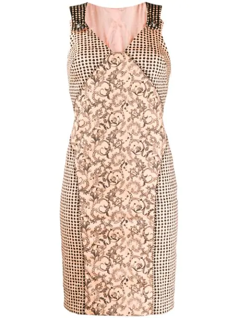 Versace 1990s Printed Fitted Dress In Pink