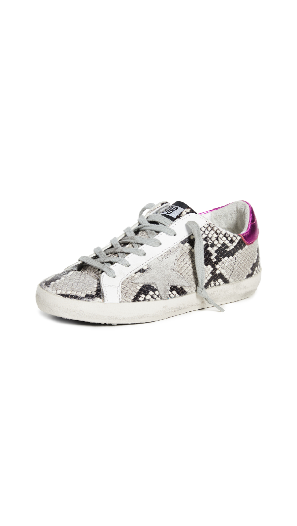 Golden Goose Superstar Distressed Snake-Effect Leather And Suede Sneakers In Light Gray