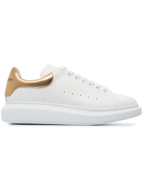 Alexander Mcqueen Men's Leather Platform Sneakers With Metallic Back In White