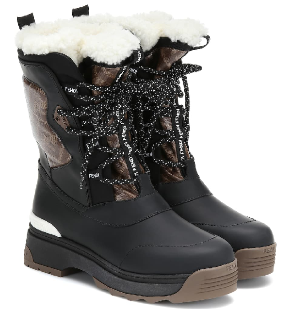 Fendi T-rex Shearling-lined Logo-print Coated Canvas And Leather Ankle Boots In Black