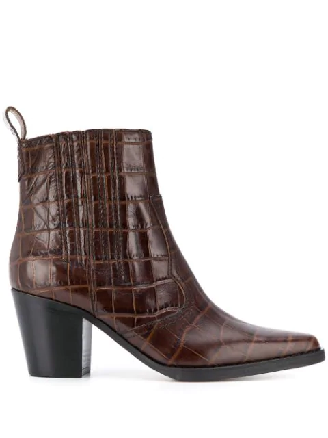 Ganni Callie Western Crocodile-effect Leather Boots In Brown