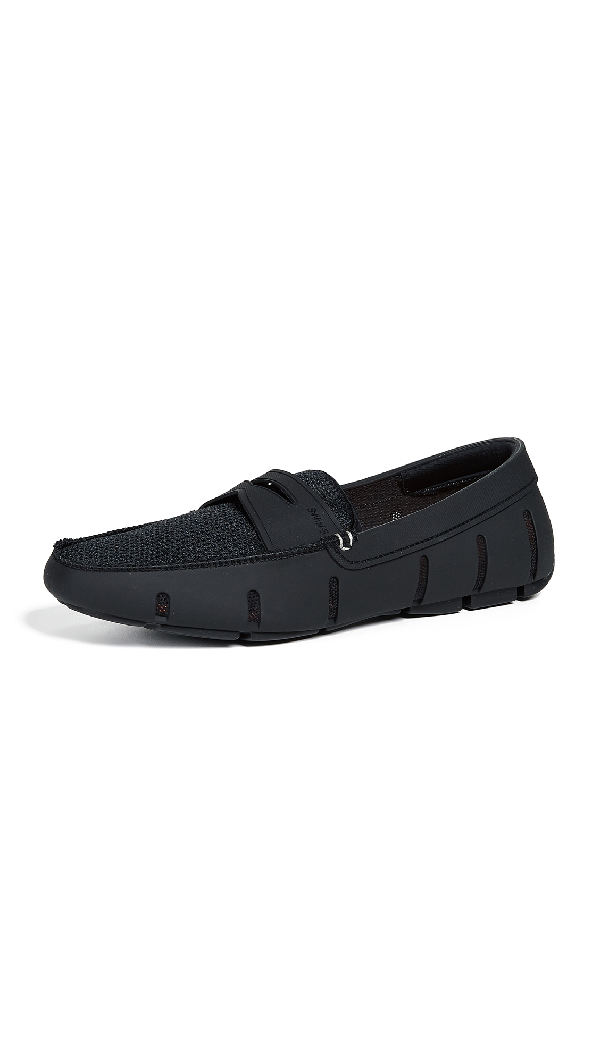 Swims Mesh-Trimmed Penny Loafers In Black