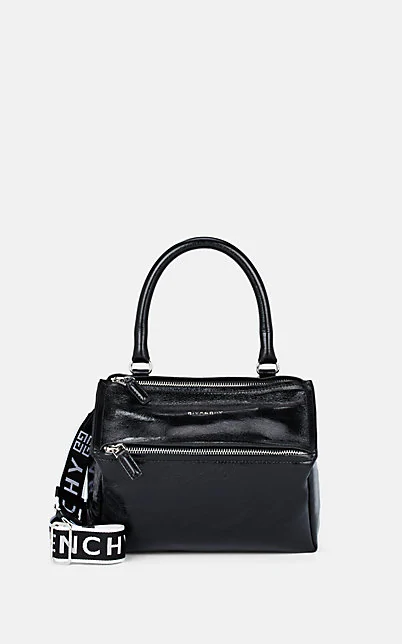 Givenchy Pandora Mini Fabric Satchel Bag With Logo Strap In Black