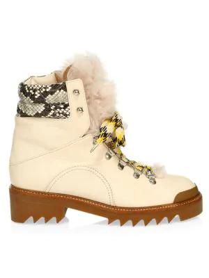 Aquazzura Women's Sierra Lamb Fur-trim Snakeskin & Leather Hiking Boots In Cream