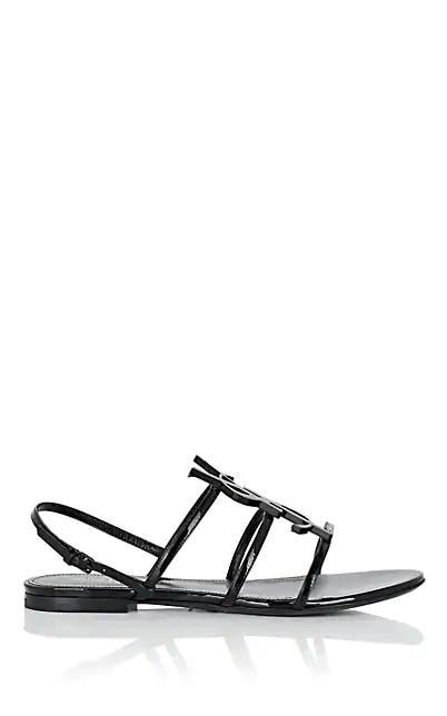 Saint Laurent Cassandra Open Sandals With Black Logo In Patent Leather