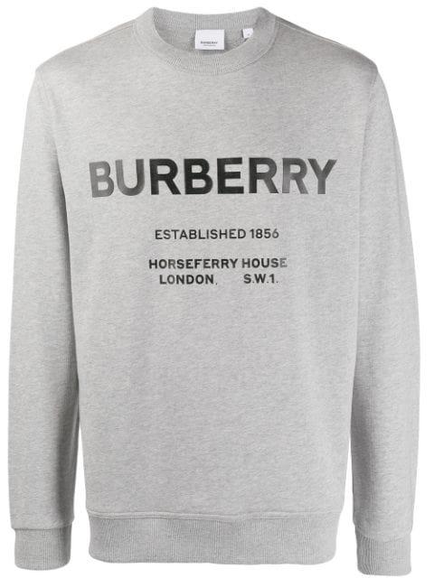Burberry Martley Horseferry Print Sweatshirt In A2142 Pale Grey Melange