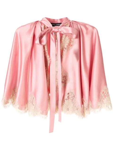Dolce & Gabbana Lace Detail Tie Neck Jacket In Pink