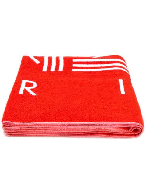 Kenzo K Sport Logo Beach Towel In 21 Rouge Moyen
