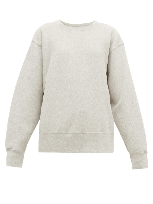 Les Tien Crew-neck Brushed-back Cotton Sweatshirt In Grey