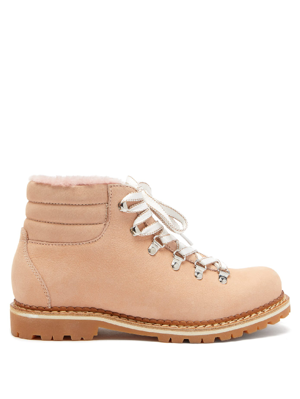 Montelliana Marlena Shearling And Nubuck Hiking Boots In Pink