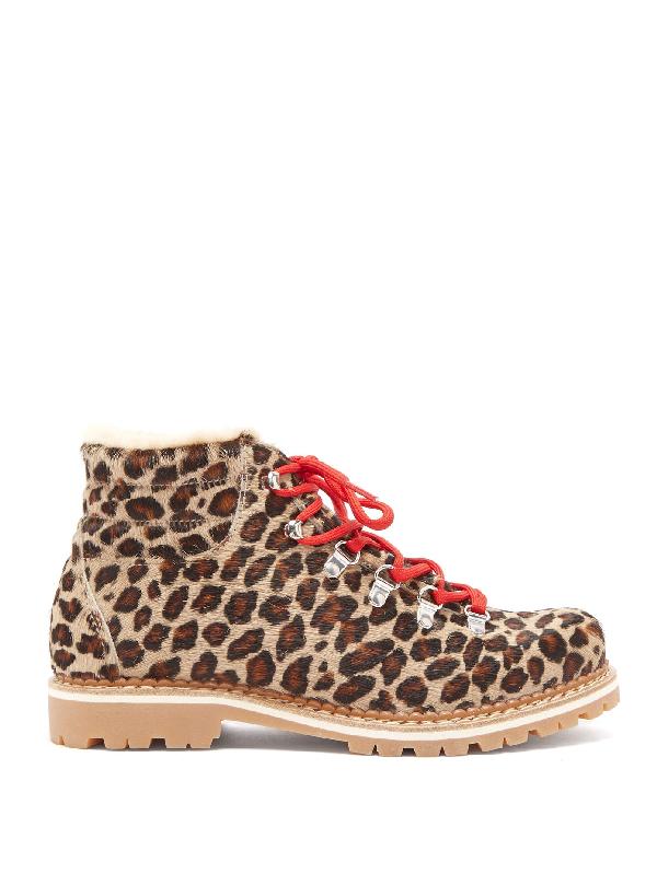 Montelliana Marlena Leopard-print Calf-hair Après-ski Boots In Brown