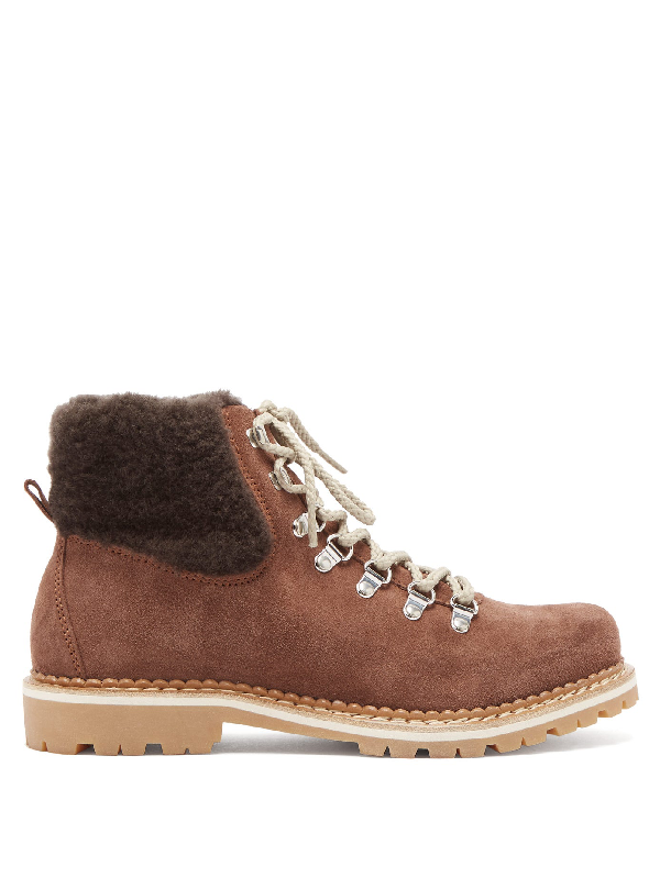 Montelliana Camelia Shearling-lined Suede AprÈs-ski Boots In Dark Brown