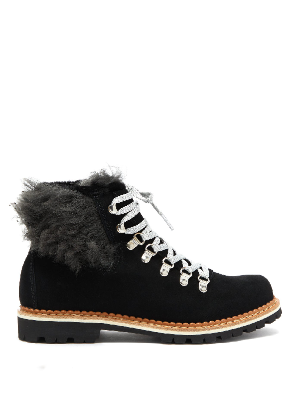 Montelliana Clara Shearling-lined Suede AprÈs-ski Boots In Black