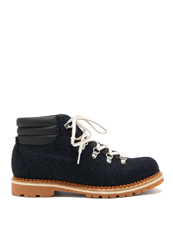 Montelliana Alberto Canvas And Leather Hiking Boots In Dark Navy