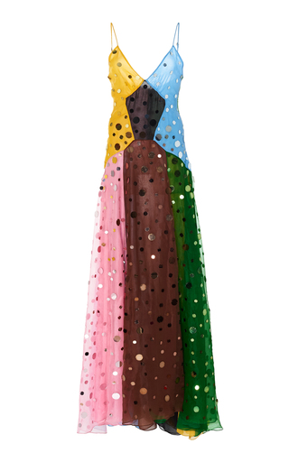 Rosie Assoulin Colour-Blocked Sequinned Silk Dress In Multi