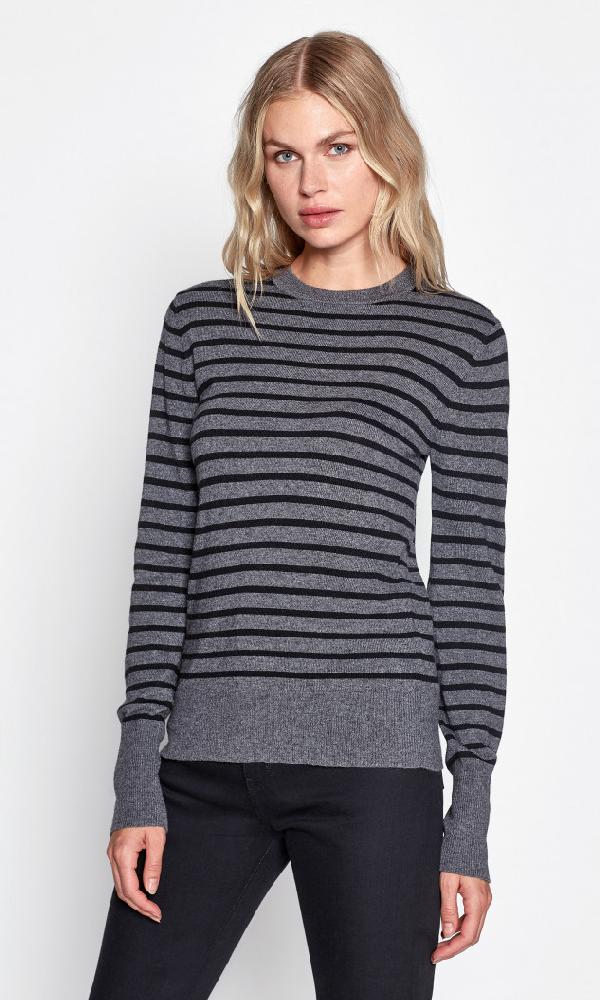 Equipment Astir Striped Pullover Sweater In Mid Gray/True Black