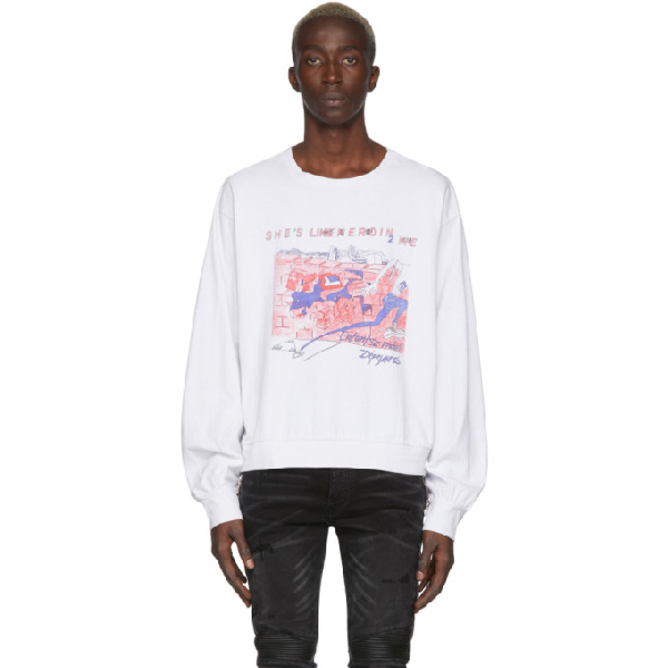 Enfants Riches Deprimes White Shes Like Heroin Long Sleeve T-Shirt In Vntgblanc