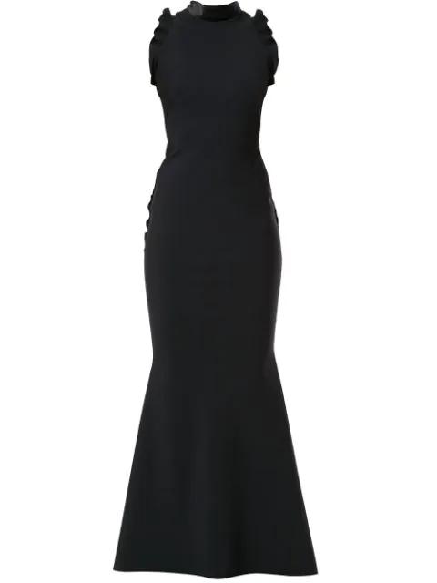 Greta Constantine Badilo Flutter Trim Evening Gown In Black