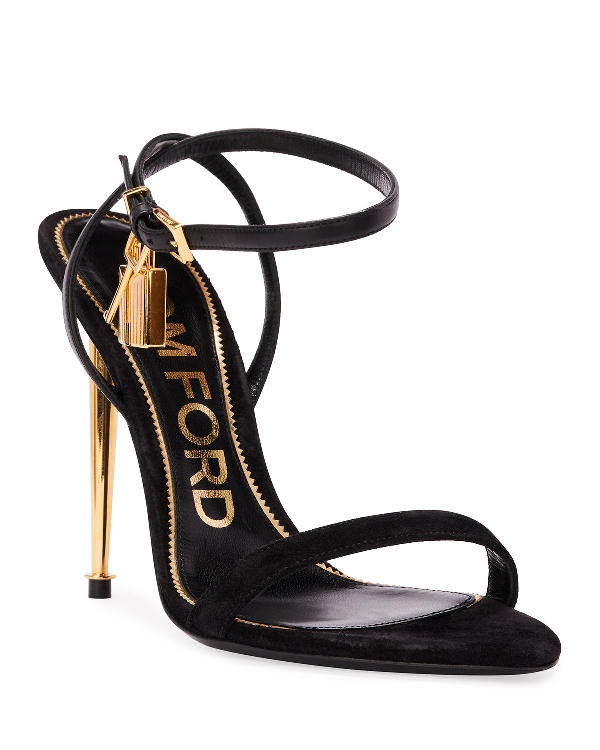 Tom Ford Strappy Suede Lock Sandals In Black