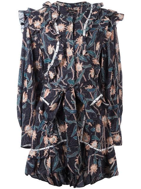 Isabel Marant Ullo Embellished Floral-Print Cotton Dress In Black