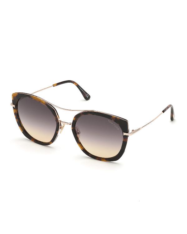 Tom Ford Joey Metal Cat-eye Sunglasses In Havana